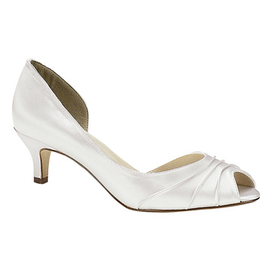 Attractive Abby Dyeable White Low Heel Bridal Shoes