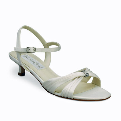 Andie Ivory Matte Satin Low Heel Bridal Shoes
