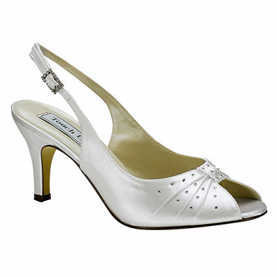 Angie Dyeable White Mid Heel Bridal Shoes