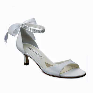 Carmen White Low Heel Bridal Shoes