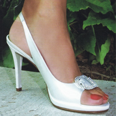 Coco White Silk Bridal Shoes