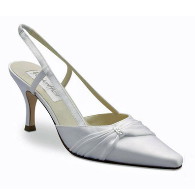 Donna White Satin Mid Heel Bridal Shoes