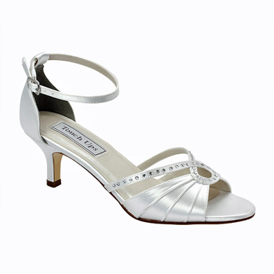 Frenchie White Mid Heel Bridal Shoes