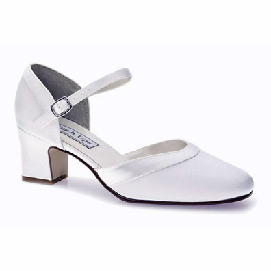 Bridal Shoes.net | Ginger White Crepe Low Heel Wedding Shoes