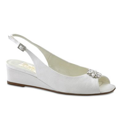 Jocelyn White Silk Low Heel Bridal Shoes