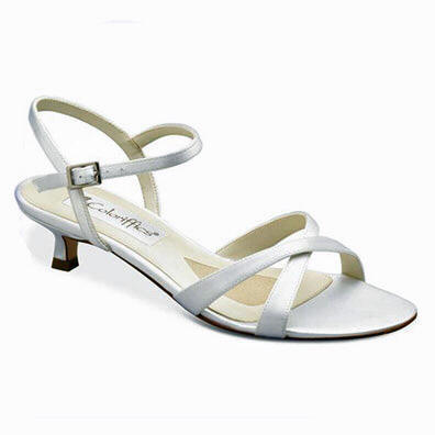 Lindsay White Satin Low Heel Bridal Shoes