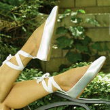 Molly Lace Up Flat Heel Bridal Shoes