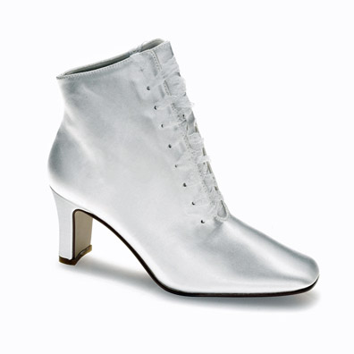 Ronnie White Satin Mid Heel Bridal Boots
