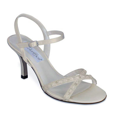 Tiffany Ivory Satin Mid Heel Bridal Shoes
