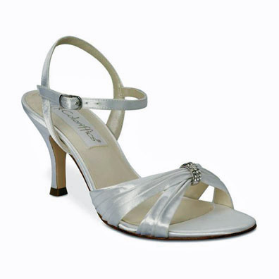 Tori Dyeable White Mid Heel Bridal Shoes