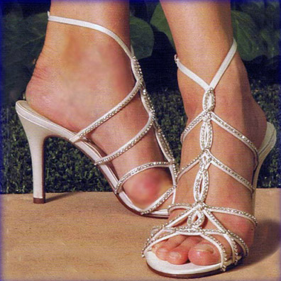 Valentina White Silk Sky Hi Heel Bridal Shoes