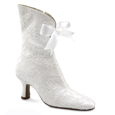 Victoria White Beaded Bridal Boots